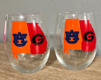 House divided wine glass auburn university and university of Georgia rivalry listing is for ONE GLASS