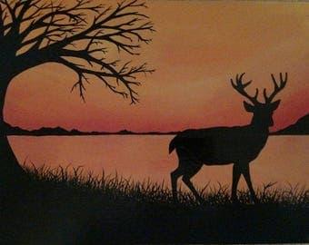 Deer Lake Silhouette acrylic painting