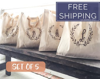 Personalized Bridesmaid Gift Idea, Set of 5, Bridesmaid Tote Bags, Set of Monogrammed Bags for Bridesmaids, Gift Idea, Bridal Party Bags