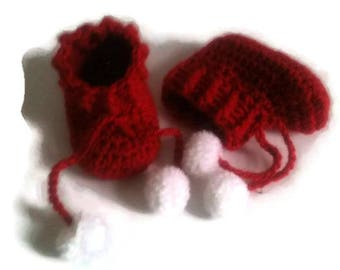 Red and white baby booties handmade woolen