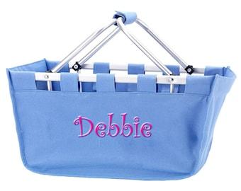 Personalized Market Tote | Monogrammed Market Tote | Beach Basket | Toy Organizer | Crafts Organizer |  Hydrangea Large Blue Market Tote