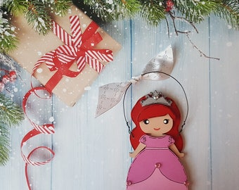 Ariel Christmas Ornament, Disney Princess, Elsa, Anna, Cinderella, Rapunzel, Jasmine, Snow White, Belle, Aurora, Moana, Tiana, Merida, Mulan