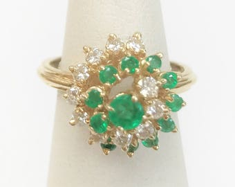 Vintage 1970's Emerald & Diamond Swirl Ring - 14 karat yellow gold