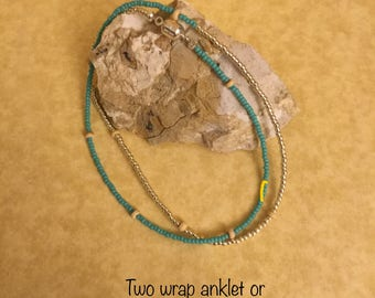 Tiny turquoise and silver anklet/bracelet wrap