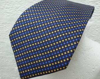 Tie silk necktie blue accessory wedding vintage mens 1990s gift Ascot tie boyfriend present blue necktie silk retro dad gift birthday mens.