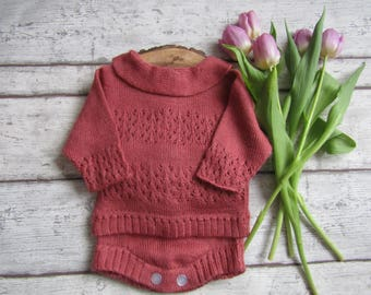 Baby Girl Outfit - Babies Knitwear - 3-6 months Baby Clothes - Baby Girl nappy cover - photography prop - knitted girl jumper