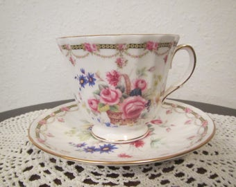 Duchess Bone China Tea Cup and Saucer Flower Design , Footed, England   ( C-14 )
