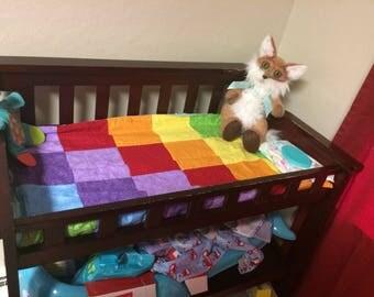 Rainbow baby handmade  patchwork quilt minky blanket