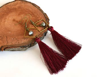 burgundy earrings / tassel earrings / maroon earrings / wine earrings / silk tassel earrings / long earrings / dangle earrings / ANY COLOR
