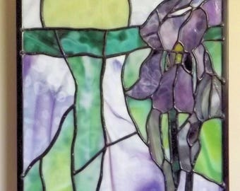 Stained Glass Window Panel Purple Iris Expressionistic Original Handmade Flower Wall Hanging