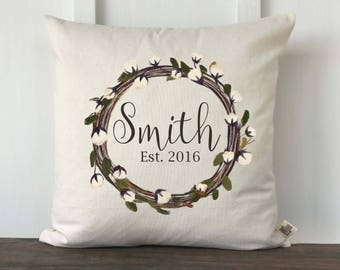 Farmhouse Pillow Cover,Personalized Pillow,Cotton Wreath Pillow,Anniversary Gift,Wedding Gift,Housewarming gift,Cotton Wreath Last Name