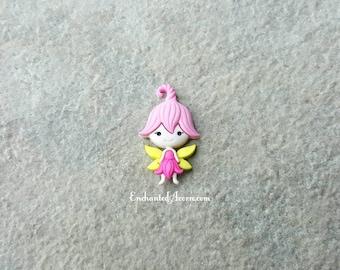 Pink Fairy Figure - Fairy Blossom Figurine Button Cabochon Miniature Fairy Garden Accessories Cake Decoration Cupcake Topper Kawaii Decoden