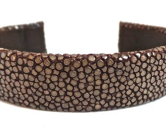 Stingray Taupe leather Cuff Bracelet