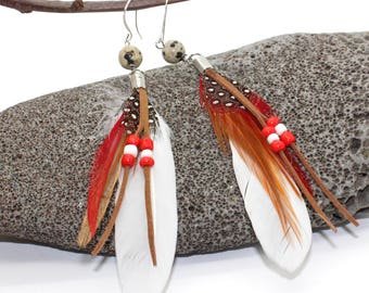 White Feather and Beaded Earrings - Feather Earrings, Long Earrings, Feather Earrings, White Feather Earrings