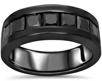 Black Diamond Mens Wedding Band Channel Set Princess Cut 2.0ct 14k Black Gold