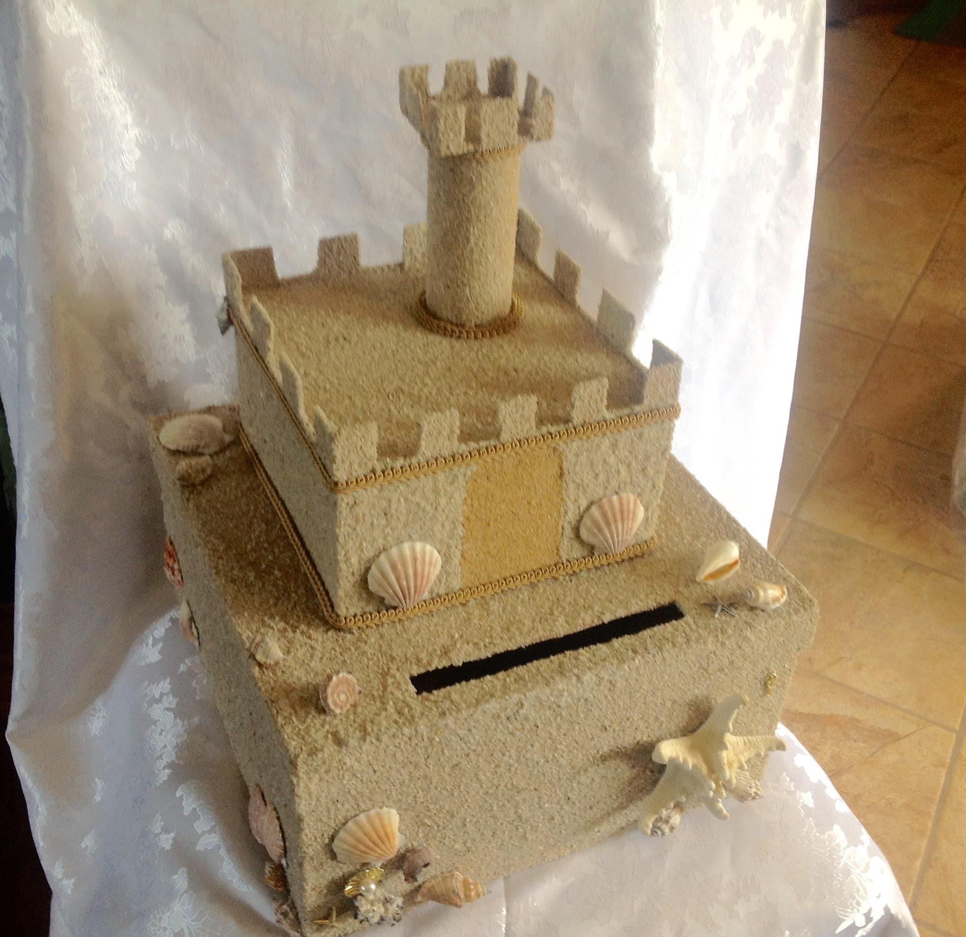 Beach wedding card boxsecured locking card box sand castle