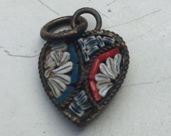 Antique Micro Mosaic heart charm  Italian/ Glass/ 1900 1900s/ Pendant zz