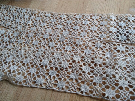 Large Antique French Beige Cotton Bobbin Lace Sewing Project Collectible Fashion Costume Design #sophieladydeparis