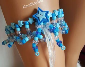 Blue star kandi garter, rave outfit, rave costume