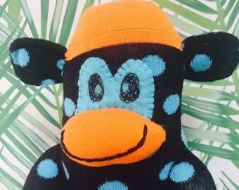 Spotty socks,  sock monkey doll , handmade stuffed monkey, plush sock monkey, ce certified, gift for boy