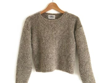 Oatmeal Fuzzy Cropped Sweater