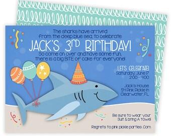 Shark Invitation, Shark Invite, Shark Party, Shark Birthday, Shark Birthday Invitation, Shark Party Invitations, Printable Invitation |54