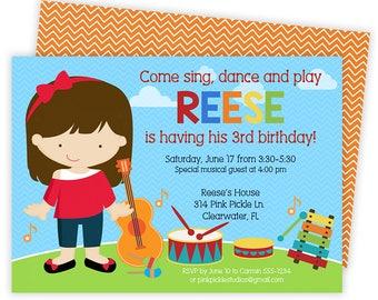 Music Invitation / Music Birthday Invitation / Music Party/ Music Birthday Party/ Music Theme Party/ Birthday Invitation/ Music Invite   314
