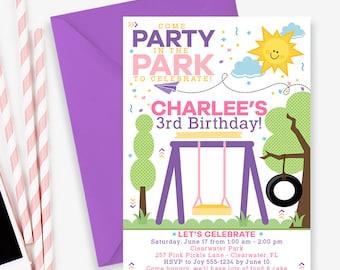 Park Invitation, Park Party Invitation, Park Birthday Invitation, Playground Birthday Invitation, Playground Invitation, park invite | 257
