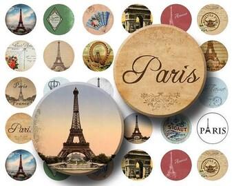 SALE- Paris Ephemera - Digital Collage Sheet  - 1 inch Round Circles - INSTANT DOWNLOAD