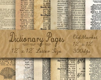 SALE- Blank Dictionary Pages Digital Paper - Old Paper Textures - 12 Designs - 12in x 12in - Commercial Use - INSTANT DOWNLOAD
