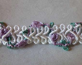 White Trim with Purple Roses