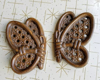 Burwood Butterfly Wall Hanging Set of Two Brown Rattan Wicker Kitsch Plastic Home Decor