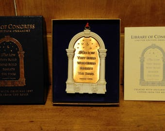 Pair of Limited Edition Library of Congress Ornaments  ***FREE SHIPPING***