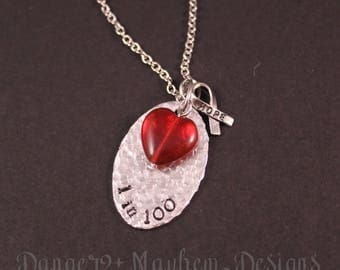 Beautiful Hand Hammered 1 in 100 CHD Awareness Necklace With Large Czech Glass Heart
