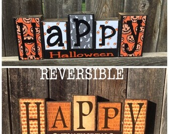SALE--Reversible Halloween and Thanksgiving wood blocks--Happy Halloween reverses with Happy Thanksgiving