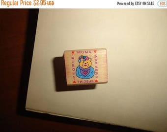 50% OFF 1994 Moms are very special people bear stamp 1 in by 1 inch Vintage Wooden rubber stamp