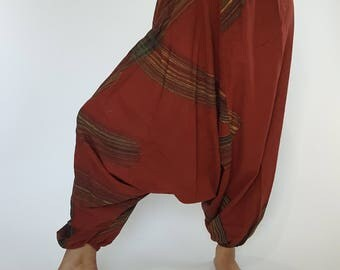 HC0337 Harem Pants Unisex Low Crotch Yoga Trousers, COTTON harem pants