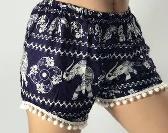 PP0030 Pom pom Shorts Elephant Print Beach Summer Hippies Boho Fashion Chic Clothing Bohemian Boxers Short Pants Unique