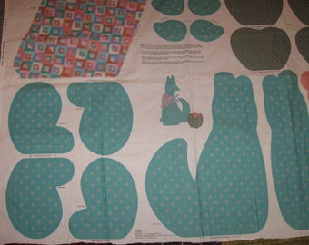 Cyote And Cactus And Flower Sewing Cut Out Panel VIP Screen Print Cranston Print Works Company Stuffed Animal With Scarf