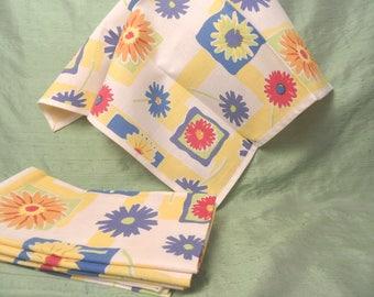 6 floral linen napkins / yellow blue napkin set / 17 inch