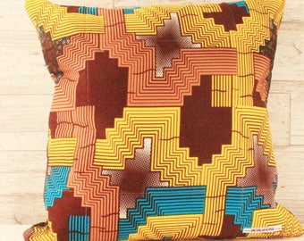 Block Print Throw Cushion - Bright Geometrics With Brown