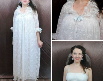Lace Peginet and Matching Lace Bridal Nightgown