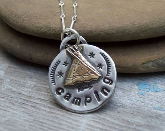 Nature Badge Sterling Silver Necklace . CAMPING. Summer Camp. Star . Sterling Necklace.Rustic. Necklace. Mixed Metals