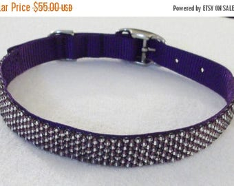 CLEARANCE Amethyst and Diamonds Beaded Dog Collar, 20-24-inches/51-61 cm