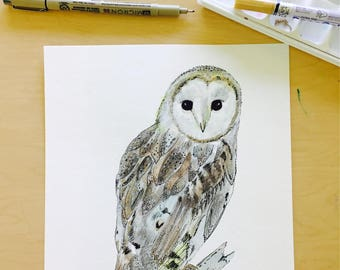 8x10 Winter Woodland Barn Owl-Original Detailed Watercolor