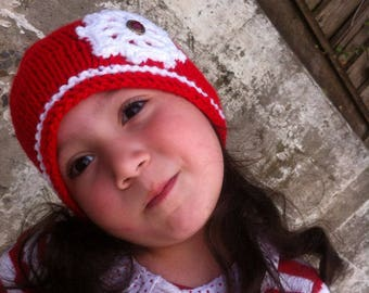 Christmas Girl hat, toddler girl hat, red hat, Handmade Hat, Red hat, warm hat, winter hat