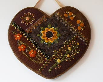 Handmade Heart Felted Wool Crazy Patch Wall Hanging