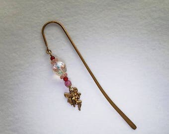 Hand Made Beaded Bookmark Shepherds Hook with Fairy Charm & Beads