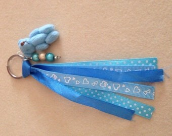 Fancy blue Teddy bear keychain