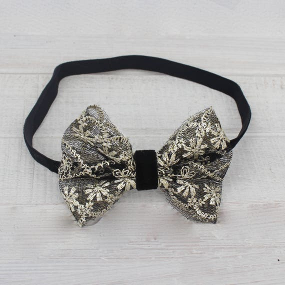 Black Bow Headband, Gold Black Bow, Black Headpiece, Baby Headband, Lace Bow Headband, Infant Headband, Headband for Babies, Toddler Band